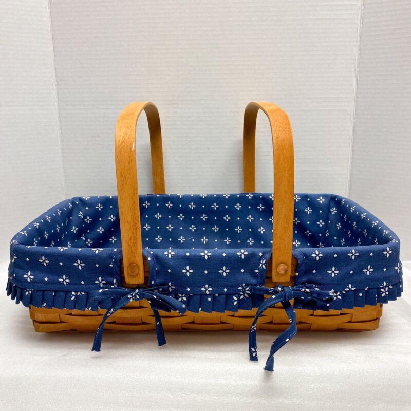 Vintage Longaberger 1995 Medium Gathering Basket Navy Blue Floral Liner Picnic