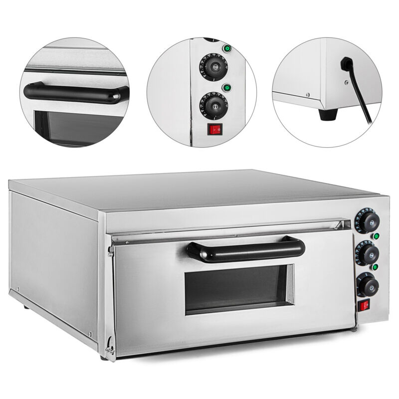 Electric 2000W Pizza Oven Single Deck Ceramic Stone Bake Broiler Restaurant