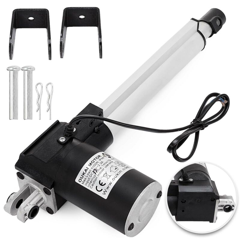 """6"""" Inch Stroke Linear Actuator 6000N/1320lbs Pound Max Lift 12V Volt DC Motor"""
