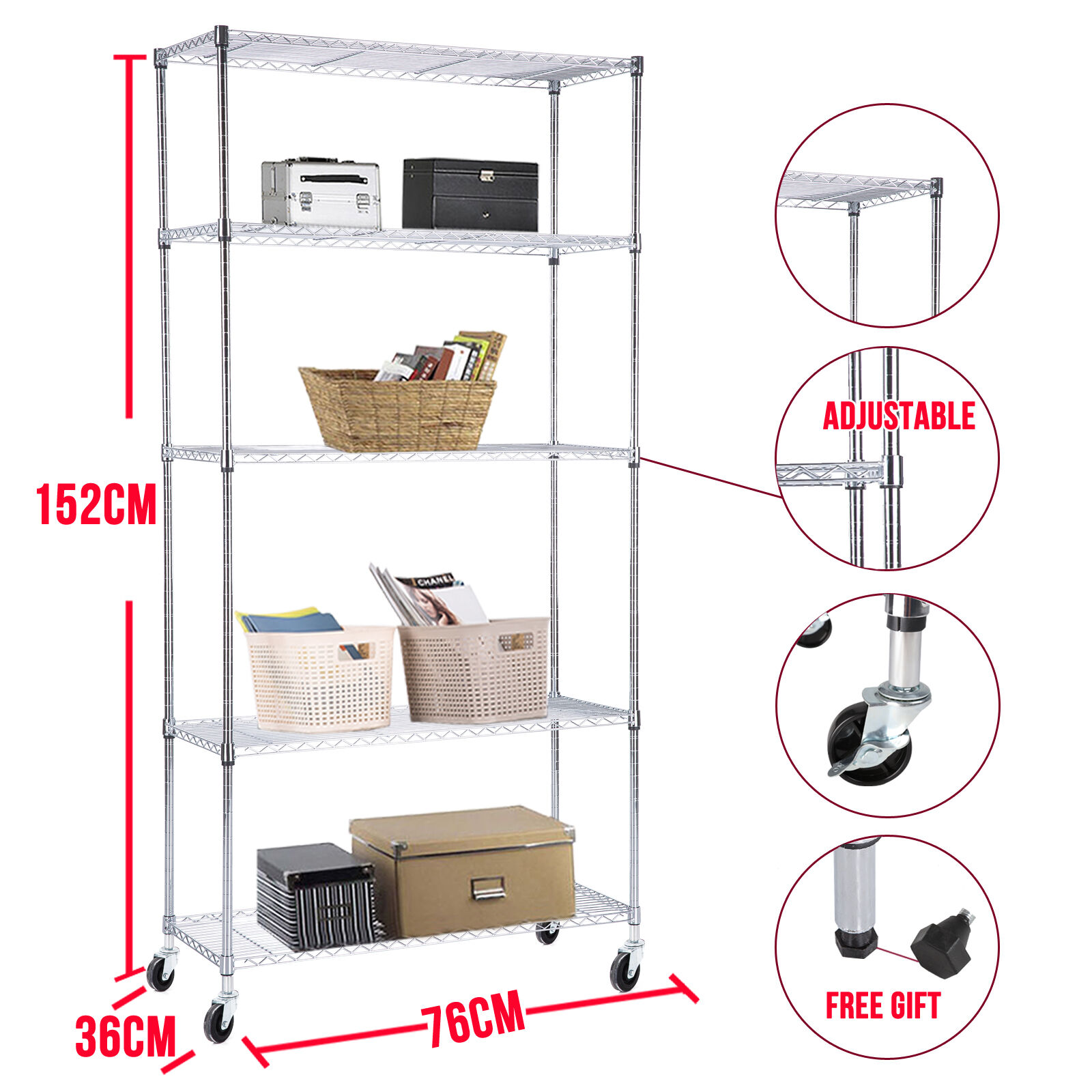 adjustable 5 tier wire shelving rack heavy duty chrome steel shelf wwheels