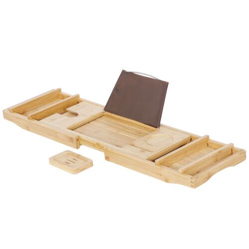 Expandable Bamboo Bathtub Rack Tray Bath Caddy Wine Glass Holder Over Bath Tub Bath