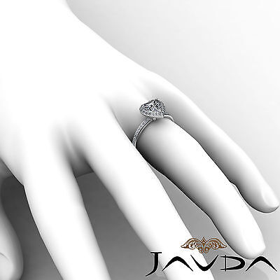 2 ct Halo Pave Heart Diamond Engagement Brilliant Ring 14K White Gold F SI1 GIA 6