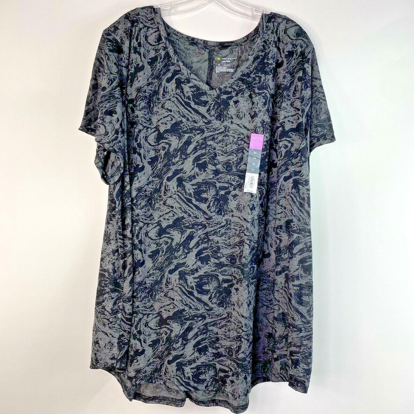 TEK GEAR drytek V Neck T Shirt Womens Size 3X Black short sleeve top New