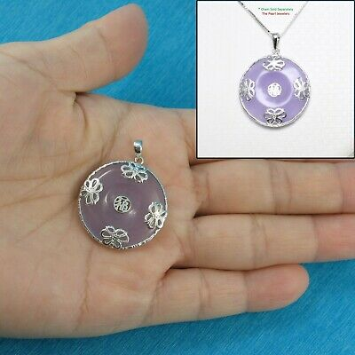 Solid Sterling Silver 925 Butterflies on 26mm Lavender Jade Cabochon Pendant TPJ