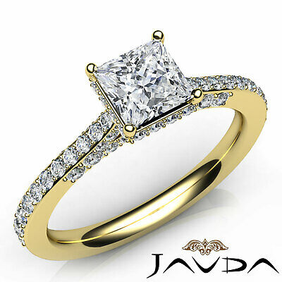 Bridge Accent Circa Halo Princess Diamond Engagement Pave Ring GIA F SI1 1.15 Ct