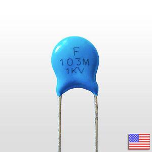 5x (5pcs) 1000V .01uF High Voltage Ceramic Capacitor 103M 1KV 0.01 uf mfd 10nF