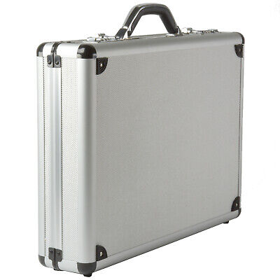 Alpine Swiss Aluminum Attache Case Padded Laptop Briefcase Combo Lock Hard -