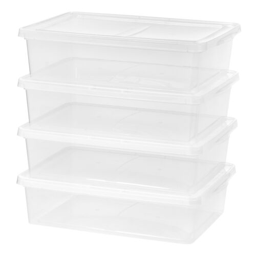 Storage Containers Plastic 28qt Clear Stackable Under Bed Storage Box 4 PacK