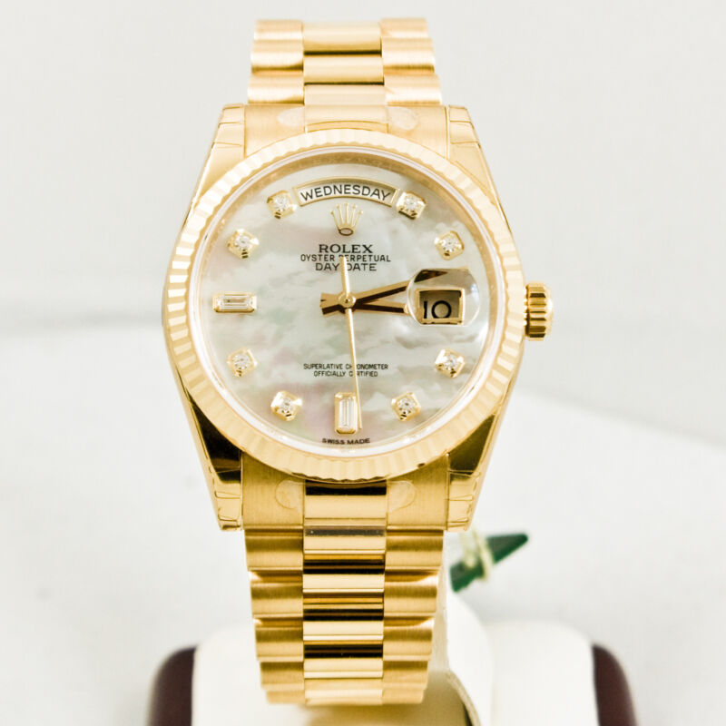 Unused Rolex Mens President 118238 18k Gold Watch Mop Diamond Dial Fluted Bezel