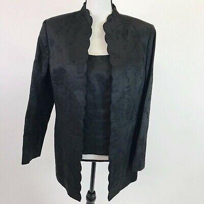 Le Suit Women's Embroidered 3 Piece Pant Suit Size 12 Black