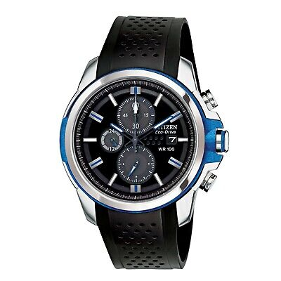 Citizen Men's CA0421-04E Drive Chronograph Black Dial Rubber Strap 45mm Watch