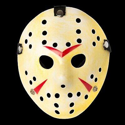 Mottled Yellow Jason Voorhees Style Hacker Horror Hockey Face Masks Halloween UK (Jason Voorhees Face Mask)
