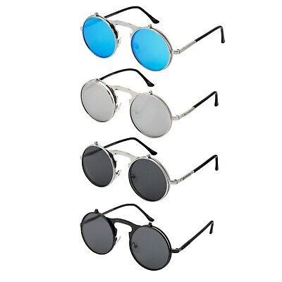 Flip Up Round Steampunk Sunglasses Goggles Retro Vintage Cyber Glasses Gothic UK