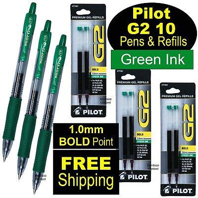 Pilot G2 10 Green 1.0mm Bold Point Green Gel Ink Rollerball Pens Refills