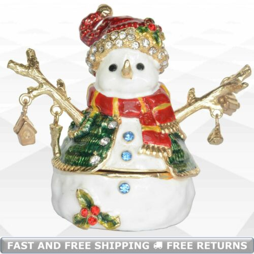 Snowman Trinket Box Hinged Lid Enamel Bejeweled Crystals Christmas Ornament Gift
