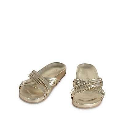 Oliver Bonas Women Multi Strap Gold Cross Over Sandals Gold Multi Leather Footwear