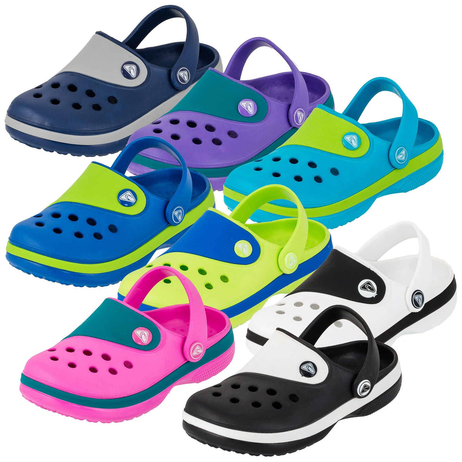 Trendige Kinder Clogs Unisex Jungen Mädchen Garten Freizeit Schuhe zweifarbig