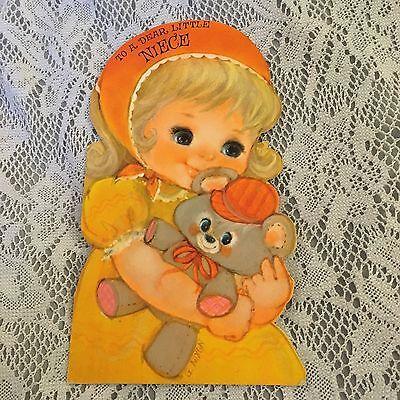 Vintage Greeting Card Birthday Niece Hallmark Girl Bear Glitter