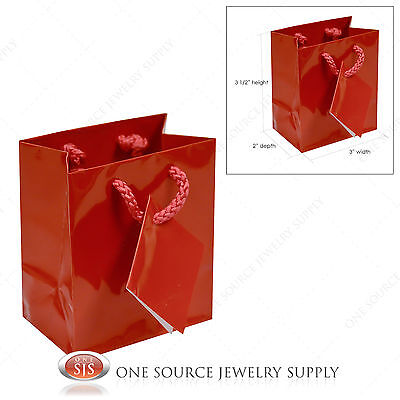 20 Red Gloss Paper Tote Gift Bags Merchandise 3