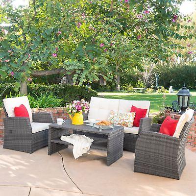 Del Norte Grey 4 Piece Outdoor Wicker Chat Set with Beige Water Resistant Cushio 4 Piece Outdoor Wicker