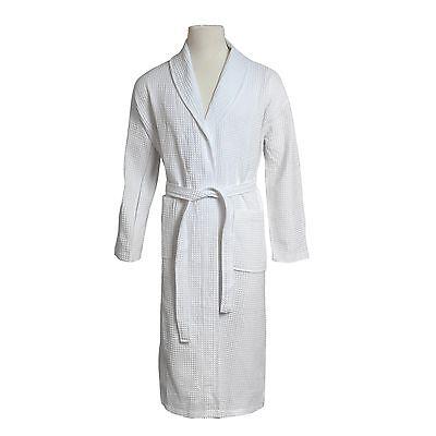 Lightweight Unisex Waffle Weave Spa Robe Bathrobe 100% Cotton White One Size (White Waffle Robe)