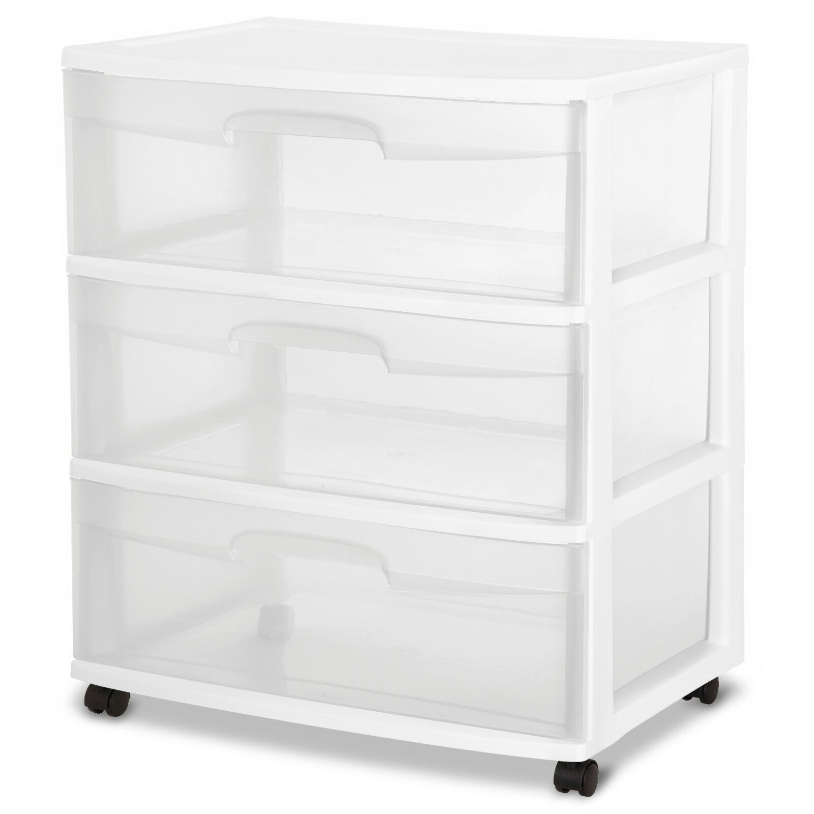 3 drawer plastic storage rolling cabinet file