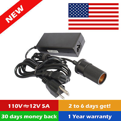 110V AC to 12V DC Car Converter Cigarette Lighter Socket 60W Partition Power Adapte O