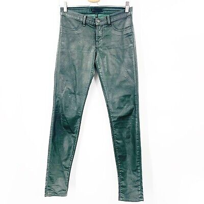 J Brand Women's Pants 27 Coated Green Color Stretch Faux Leather Skinny Jeans