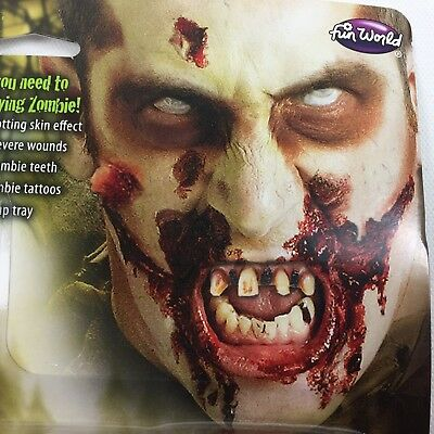 Halloween Deluxe Zombie Makeup Kit Teeth Latex Blood Scab Tattoo Costume Theater (Latex Zombie Makeup)