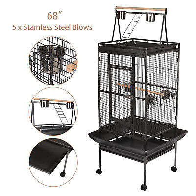 """68"""" Large Pet Bird Cage 3 Doors Large Play Top Parrot Finch Cage Macaw Cockatoo"""