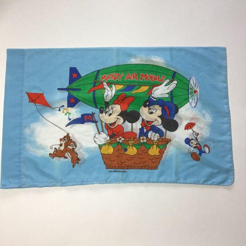 "Vintage MICKEY ""AIR MOBILE""Pillow Case 31""x20"" Walt Disney 90s Chip & Dale"