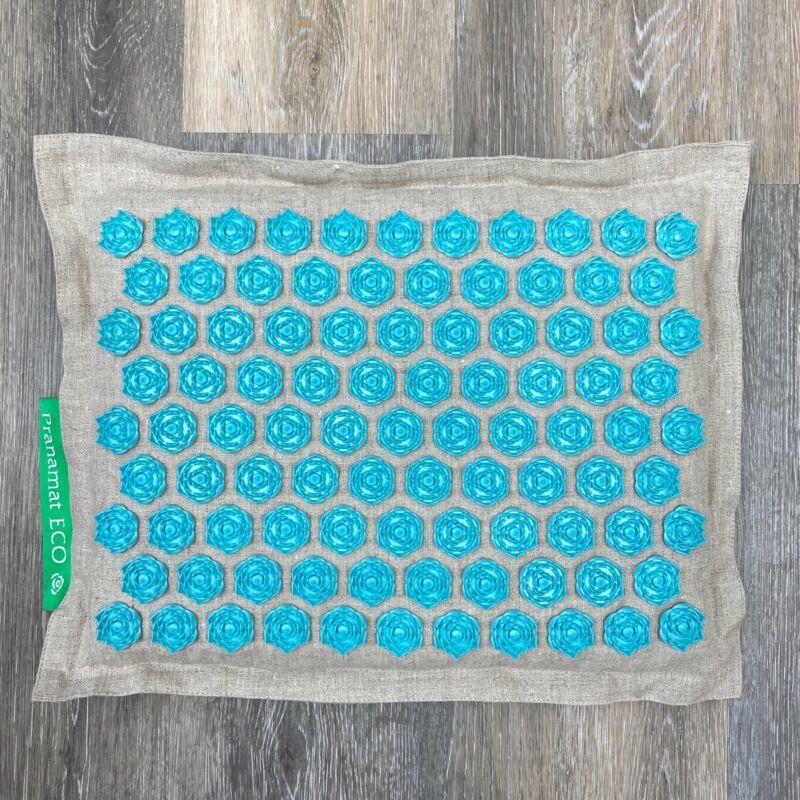 Pranamat Linen Eco Pillow Lotus Flower Acupressure Massager Natural/Turquoise
