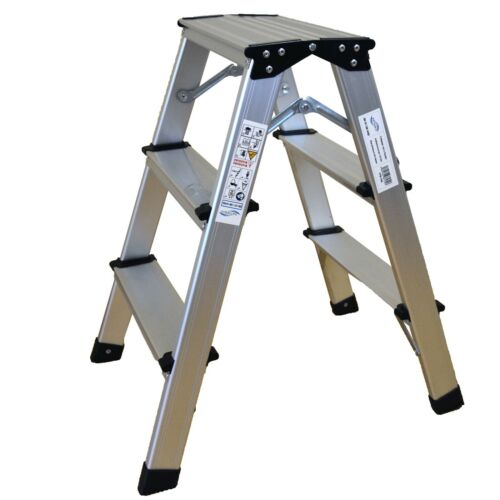 Trittleiter Alu Klapptritt Spreizsicherung 3 Stufen bis 150 kg ITS-154