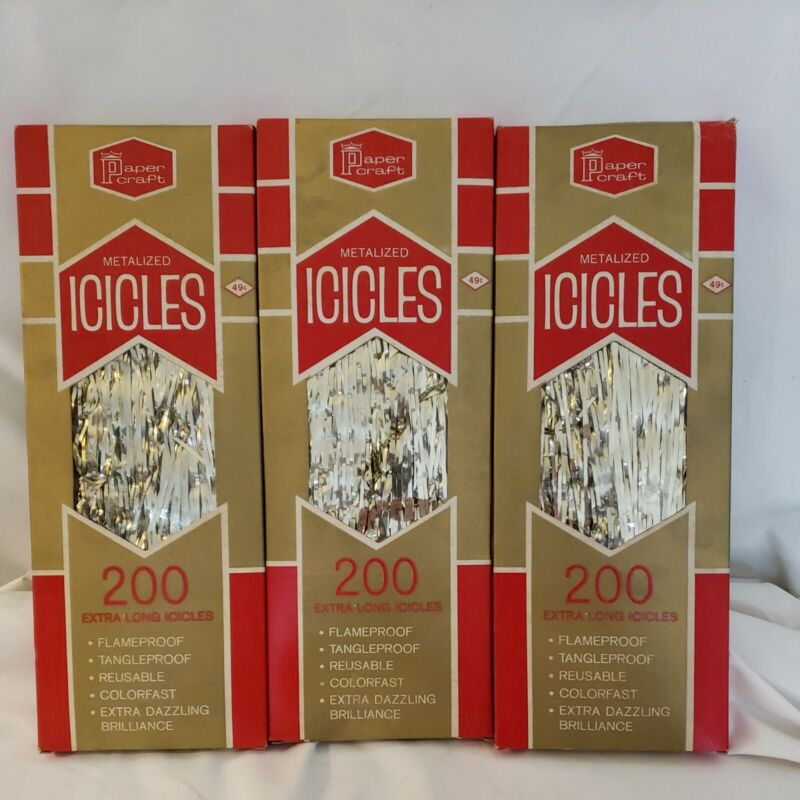 Lot of 3 Vintage Paper Craft Metalized Extra Long Icicles Christmas Tree Tinsel
