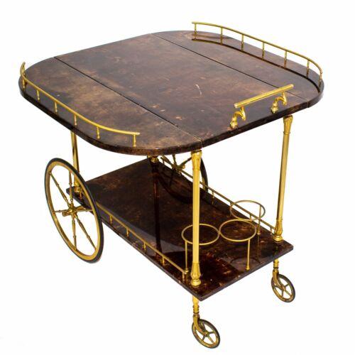 Aldo Tura Milano Italy Goatskin Bar Cart Table Hollywood Regency Mid Century