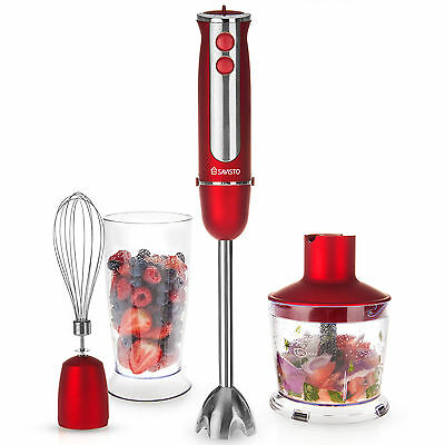 Savisto 3 in 1 750w Hand Blender Mixer Set + Food Processor, Beaker, Whisk – Red