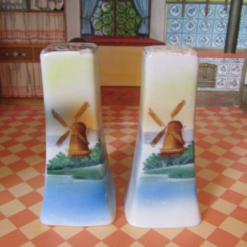 Antique Early 1900s Edwardian WINDMILL Salt Shakers Porcelain Gold Painted Japan