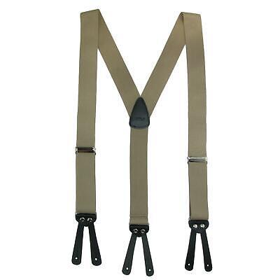 New CTM Men's Elastic Basic Y-Back Button-End Suspenders