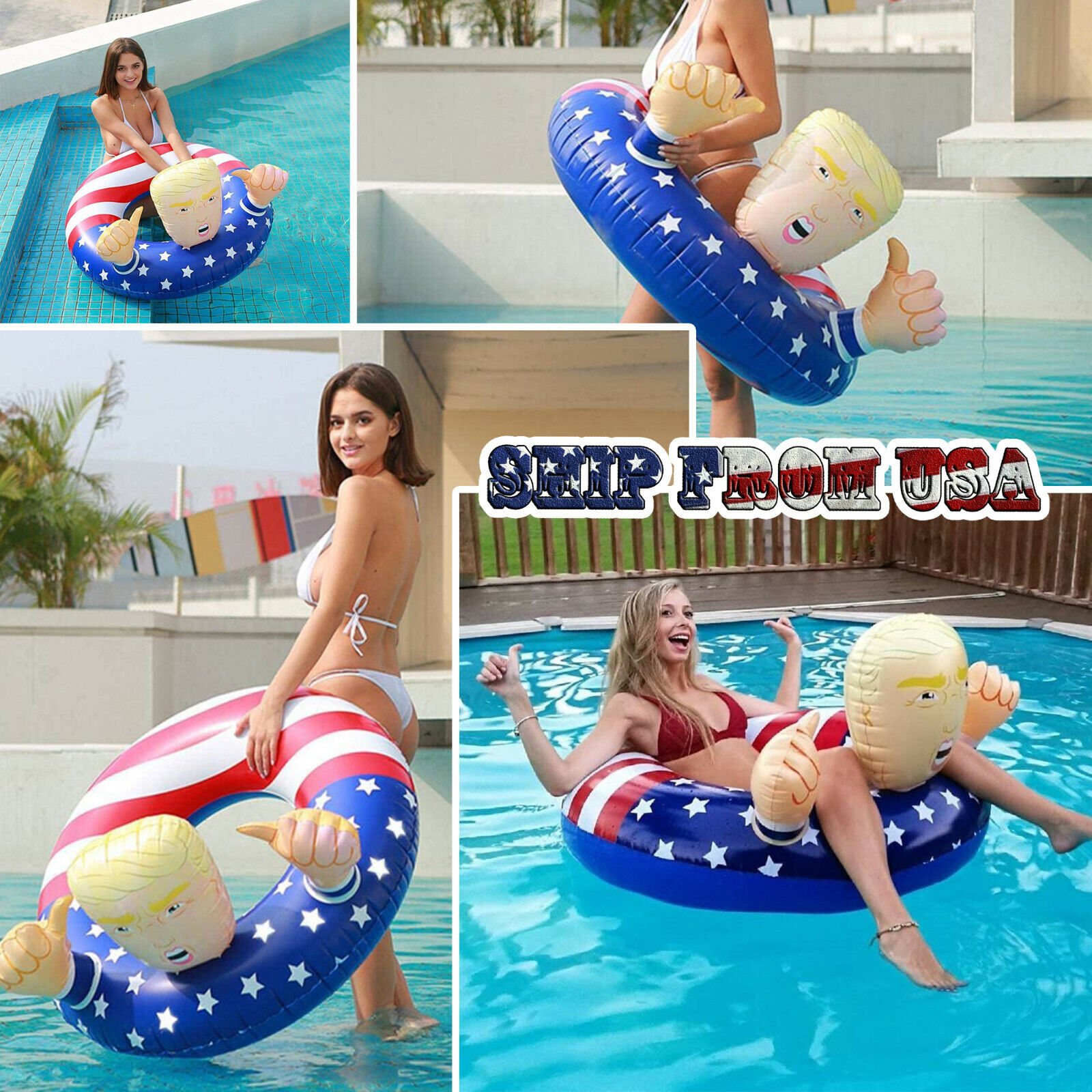 Donald Trump Swimming Floats Fun Inflatable Pool Raft Float Beach Party Gag Toy Floats, Rafts