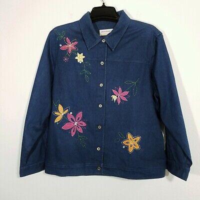 ALFRED DUNNER Womens Blue Jean Jacket 16W Stretch Denim Blazer Button Front Coat