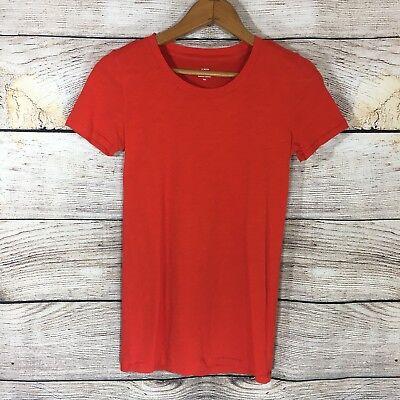 J.Crew Women's Factory Vintage Cotton Layering Short Sleeve Tee Orange -