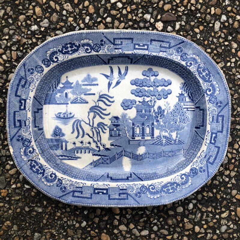 Early Antique Blue Willow Blue And White Large Platter 15 By 12 Inches