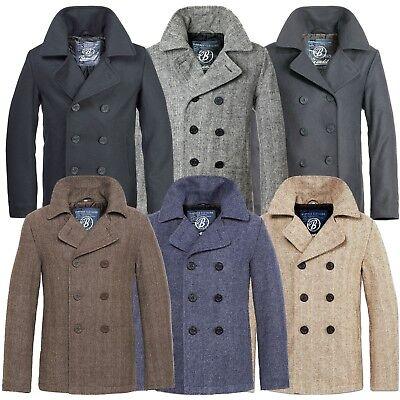 Wolle Peacoat Jacke (Brandit Pea Coat Marine Woll Mantel Herren Winter Jacke Navy Caban Kurzmantel)