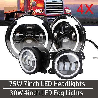 "7"" LED Projector Headlight Halo Angel Eye + Foglights for Freightliner Coronado"