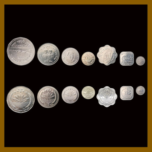 Bangladesh 1 2 5 25 Poisha & 1 2 5  Taka (7 Pcs Coin Set), 1998-2008 Unc