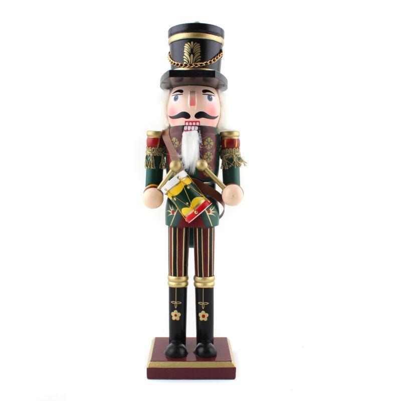 "Wooden Soildier Prince Drummer Nutcracker & Crown 12"" Christmas Gift Decoration"