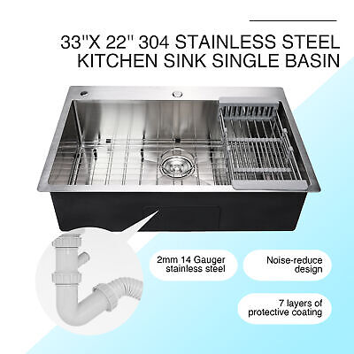 "33"" x 22"" x 9"" Top Mount Kitchen Sink Stainless Steel Single Basin w/ Strainer"