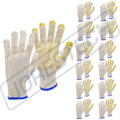 12 Pairs Poly Cotton Pvc Dots String Knit Work Gloves For Industrial Warehouse