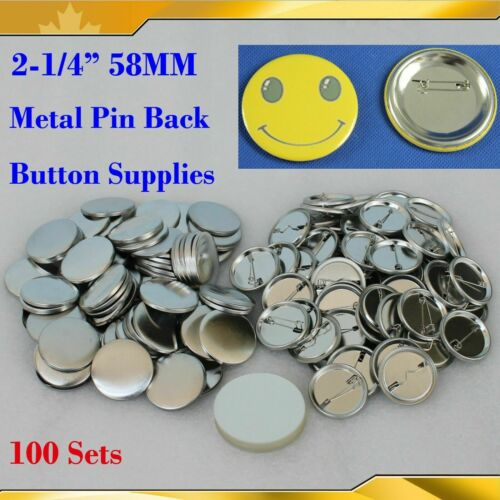 """DIY 2-1/4"""" 58mm 100Sets Pin Badge Button Parts Supplies for Pro Button maker"""