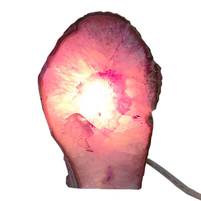 Rock Lamp Agate Geode Lamp Pink Dyed Display Specimen Free USA Shipping AL15